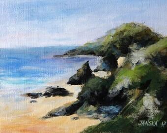 Seascape painting, original acrylic painting, small painting