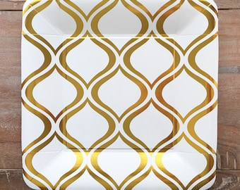 Mod Gold Arabesque Dinner Plates. Gold Party.  White and Gold Disposable Plates.