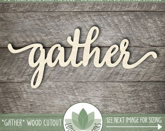 Gather Wood Word Sign, Gallery Wall Words, Personalized Home Decor, Laser Cut Wood Words, Unfinished DIY Craft Laser Cut Wood Shapes