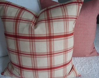 2 Patterns Holiday Pillow Covers.Christmas Slipcover.Plaid.Ivory.Red.Cream.Farmhouse Pillow Covers.Country Christmas Decor.Farmhouse Holiday