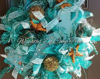 Under the Sea Mermaid Deco Mesh Wreath