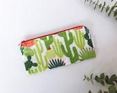 Cactus Zipper Pouch | Succulent Pencil Pouch | Make-up Bag | Cosmetics Case | Diaper Bag Organization | Clutch | Succulents