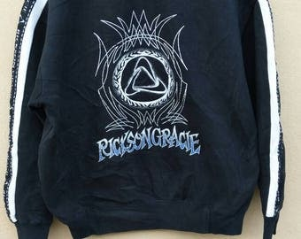 Vintage Rickson Gracie sweatshirt big logo crewneck spell out jumper