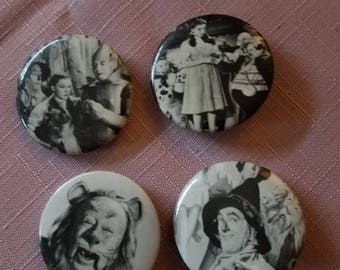Vintage B&W Wizard of Oz button style pins