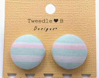 Mint and White Stripe - Fabric Button Earrings
