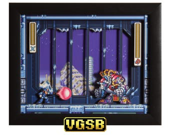 Mega Man X3 Shadow Box - Blizzard Buffalo - SNES - Super Nintendo - 3D Shadow Box Glass Frame - 12x10 - Christmas Gift - Video Game Decor