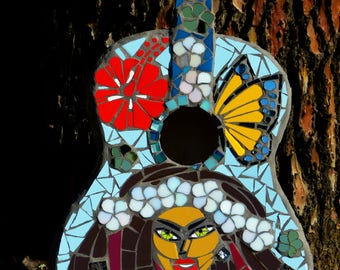 "Mosaic guitar ""hippie girl"""