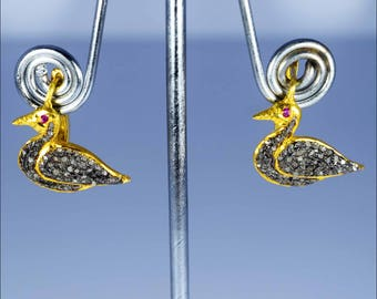 Victorian Jewellery Earrings Sterling Silver With Gold Plated Diamond and Ruby Gemstone