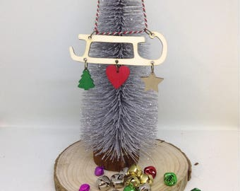 Wooden Sleigh, Scandi Style Christmas Tree Decoration