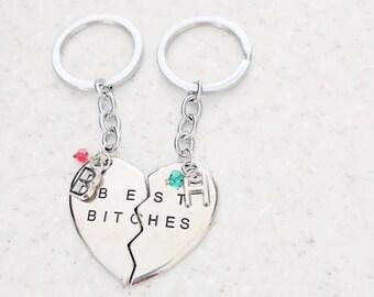 Best friend Keychains - BFF Keychain - Best Bitches Keychains - Friends Key Fob - Initial Keychain - Gift for Her - Gift for Girlfriend