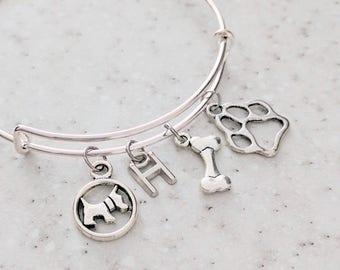 Dog charm Bracelet - Love My Dog - Expandable Bangle - Pet Lover Jewelry - Paw Charm Bracelet - Dog Lover Bracelet - Gift for Her