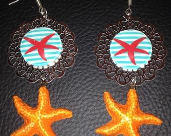 """beautiful earrings on silver filigree """"Starfish"""""""