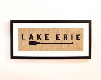 "Lake Erie One Oar 9X20"" Framed Burlap Print"