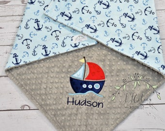 Personalized Baby Minky Blanket-Anchor Minky Baby Blanket-Anchor Blanket-Sailboat Minky Blanket-Sailboat baby Blanket-Nautica baby blanket