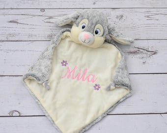 Personalized Bunny Lovey Minky Blanket Bunny-Stuffed animal-Rabbit Personalized security blanket-Birth Stats Annoucement Bunny blanket