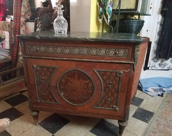 Louis XVI Style Commode with Decorative brass mounts and Toupie feet