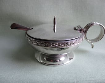 Silver plated / EPNS / Made in England / Salt cellar / Mustard pot / Condiment pot / Blue glass liner / Condiment spoon