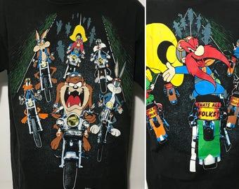 Vintage 1993 Looney Tunes Motorcycle Tee XL