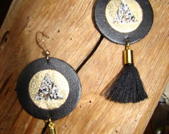 Leather and tassel earrings