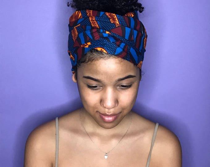 Blue, Red and Orange Kuchena Half Head Wrap