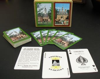 Vintage Congress Bridge Playing Cards in Case, The Capitol, Governor's Palace, Williamsburg, Virginia, Travel Souvenir, US Playing Card Co