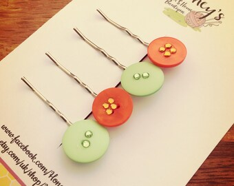 Summer green and orange hair pins