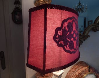 oval Lampshade Burgundy cut sides with lace application tone on tone
