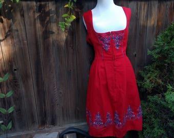 Beautiful Red Vintage Dirndl Dress - Bavarian Austrian German Oktoberfest Boho Bohemian European Folk Trachten -