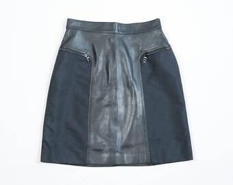 FENDI - Leather and nylon skirt