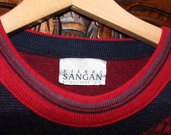 Pierre Sangan Red Sweater Jumper   Retro Golf Christmas Swing Folk
