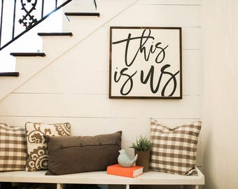 This is Us 2'x2' Wood Sign | home decor | wood sign | farmhouse style |