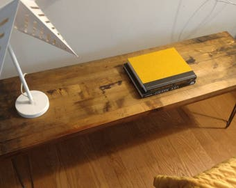 Industrial Modern Wooden Bench with Pin Hair Legs located in Chicago