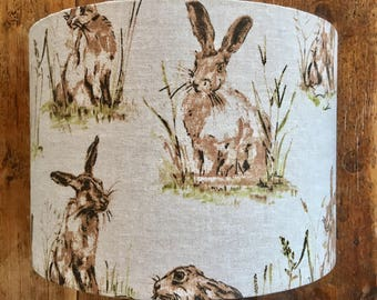 Handmade Lampshade Country Hares Vintage Style Hare/Rabbit Print Linen - 20/30/40cm drum lamp shade