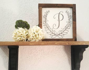 monogram wreath sign - wedding initial sign - rustic farmhouse wedding gift - farmhouse wedding decor sign - farmhouse housewarming gift