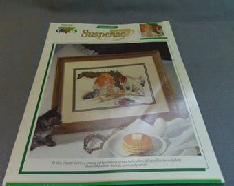 Counted Cross Stitch Chart, Suspense by Charles Barber, Girl Praying, Dog and Cat Waiting, 1992