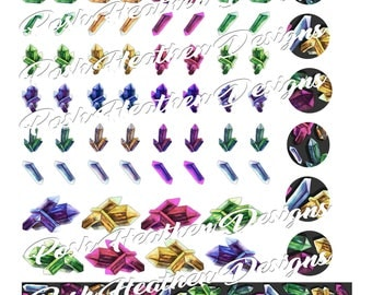 Watercolor Crystal Sticker sheets-INSTANT DOWNLOAD