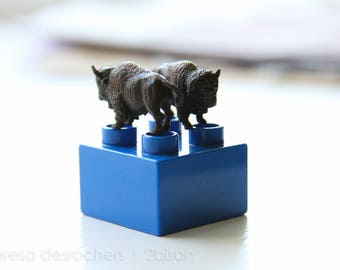 2 bison and a blue Duplo block - photography print
