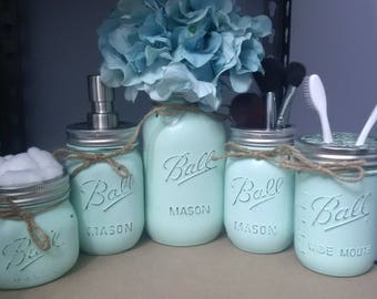 Rustic Mason Jar Bathroom Set - 5pc Mint