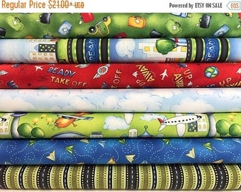 Sale Bundle of 7 Fabrics from the Ready for Takeoff Collection by Renae Lindgren for Wilmington Prints, Airplane, Airport