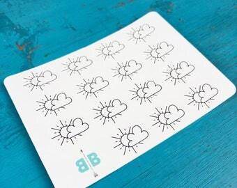 Sun & Cloud Weather Stickers - Mini Sheet