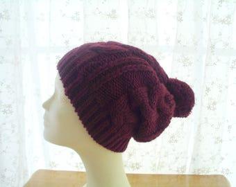 Pom pom slouchy beanie, Winter hat for women, pom pom hat lined with fleece, Slouchy beanie hat, Christmas gift, Chunky knit hat