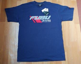 FUBU jersey, deadstock vintage hip hop t-shirt, cotton shirt 90s hip-hop clothing, 1990s old school shirt gangsta rap sewn size M Medium NWT