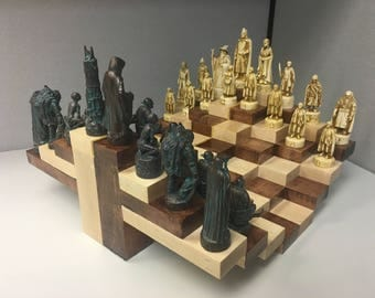 Multilevel 3D Handmade Wooden Chessboard with Chess Pieces