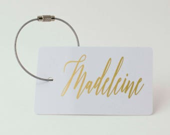 Custom Luggage Tag - FREE SHIPPING, White and Gold Personalized Luggage Tag, Bag Tag, Back Pack Tag, Travel Gift, Luggage Tag Personalized