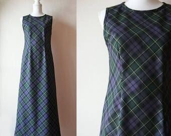 Japanese Vintage Dress / Vintage 1970's Dress / m. Purple and Green Douglas Tartan Sleeveless Maxi Dress