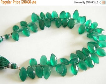Super fine quality green onyxs faceted marquise briolettes 8 inch strand