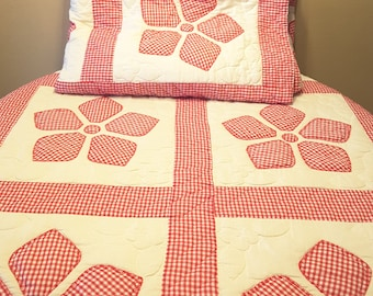 Vintage Handmade Embroidered Red Checkered Flower Patterned Quilt / Duvet / Covered 70 by 84 inch
