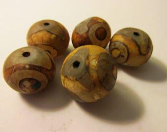 "Tibetan Dzi Round Bead with Three Evil Eyes, 3/4"", Set of 2"