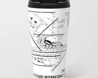 Chicago O'Hare International Airport (ORD) - Metal Travel Mug