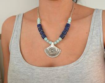 African Lapis & Amazonite Necklace Jewelry, African Moroccan necklace, Ethnic Tribal Berber necklace, Bohemian Ethnic Tribal Coral Choker